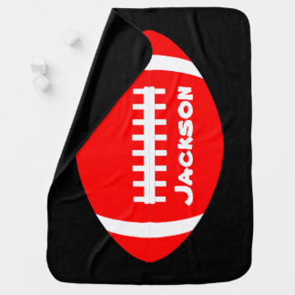 Red Baby Football Fan Custom Name or Text Swaddle Baby Blanket