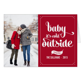 Red Baby It's Cold Outside Typography Holiday Card