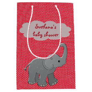 red baby shower elephant medium gift bag