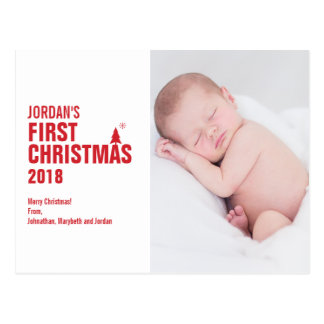 Red Baby's First Christmas Photo Postcard