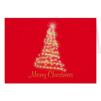 Red background Gold Christmas Tree Greeting Card