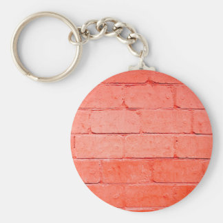 Red background of bricks with a layer of paint basic round button key ring