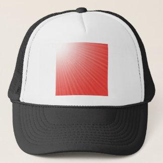 red background trucker hat