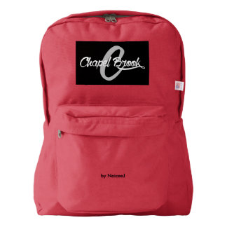 red backpack with b/w cb logo