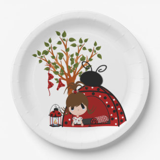 Red Backyard Campout Paper Plate