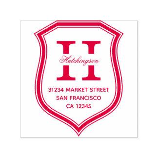 Red Badge Monogram Family Name Return Address Self-inking Stamp