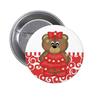 Red Ballerina Bear Pin