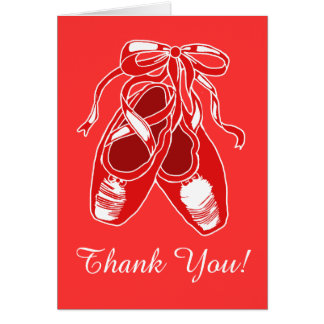 Red Ballet Shoes Red Thank You Card