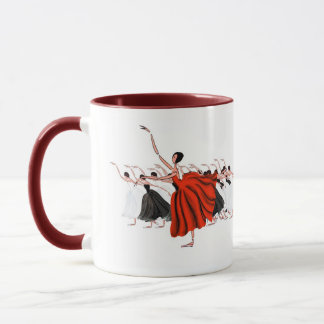 RED BALLET TUTU DRESS BALLERINAS DANCING STAGE MUG