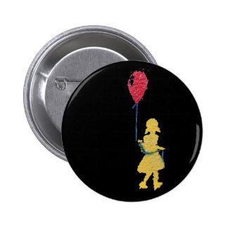 red balloon. 6 cm round badge