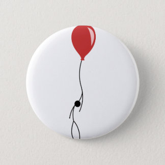 Red balloon 6 cm round badge