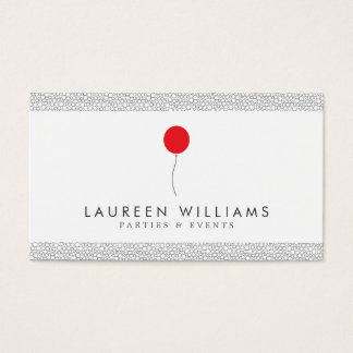 Red Balloon Logo for Event Planner, Party Planner Business Card