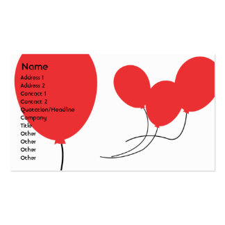 Red Balloons - Business Pack Of Standard Business Cards