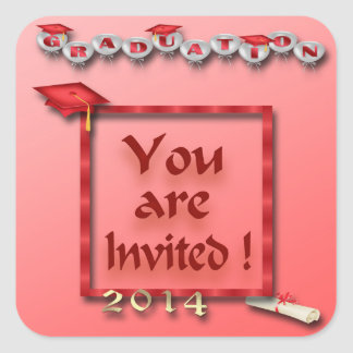 Red Balloons Graduation Party Envelope Seal Square Sticker