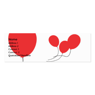 Red Balloons - Skinny Double-Sided Mini Business Cards (Pack Of 20)
