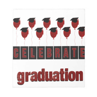 Red Balloons wearing Graduation Caps, Celebrate Gr Notepad