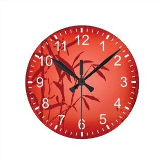 Red bamboo grunge Round (Medium) Wall Clock