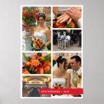 Red band 6 multi photo collage memories keepsake poster