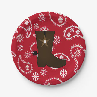 Red Bandana Cowboy Boot Paper Plates