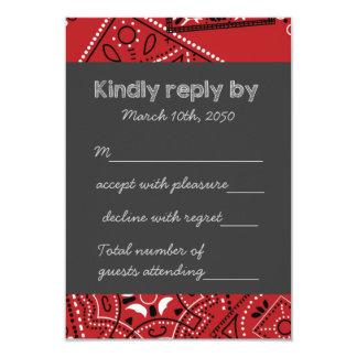 "Red Bandana RSVP 3.5"" X 5"" Invitation Card"