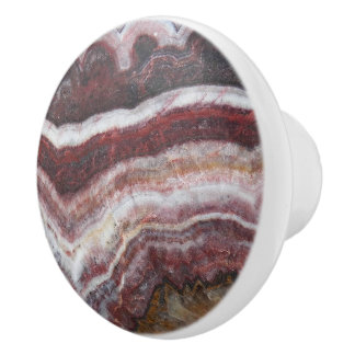 Red Banded Agate Pattern Ceramic Knob