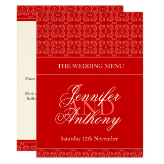Red banded wedding dinner menu card