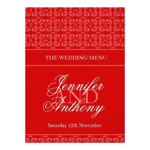 Red banded wedding dinner menu invitation