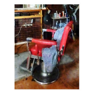 Red Barber Chair Postcard