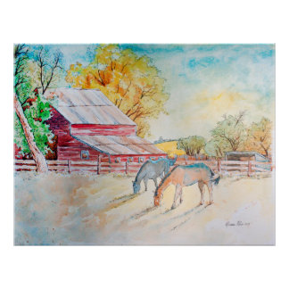 Red Barn and Horses in Pasture Poster