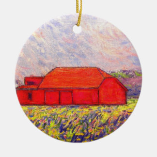 red barn and wild purple iris christmas ornaments