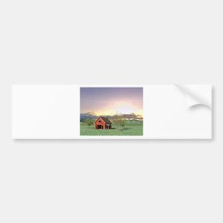 Red Barn at Sunset Bumper Sticker