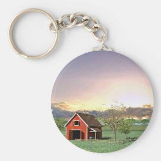 Red Barn at Sunset Key Ring