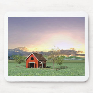Red Barn at Sunset Mouse Pad