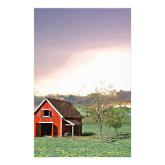 Red Barn at Sunset Stationery