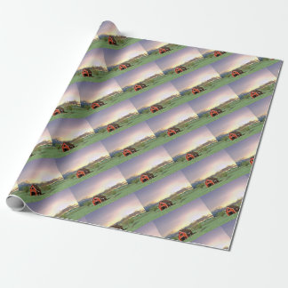 Red Barn at Sunset Wrapping Paper