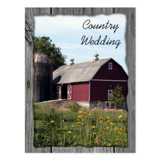 Red Barn Country Wedding Announcement Postcard