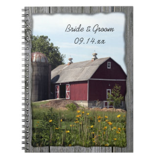 Red Barn Country Wedding Notebook