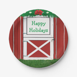 Red Barn Door Custom  Holiday Party Plates #2