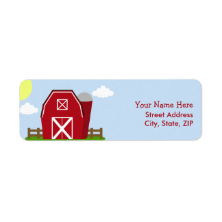 Red Barn Farm Birthday Party Address Labels