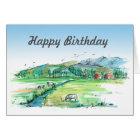 Red Barn Farm Cows Watercolor Happy Birthday Card