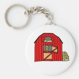 Red Barn Farm Scene Equine Horse Stall Key Ring