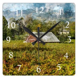 Red Barn in a Napa Valley California Vineyard Square Wall Clock