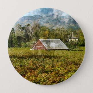 Red Barn in a Vineyard 10 Cm Round Badge