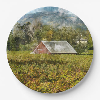 Red Barn in a Vineyard Paper Plate