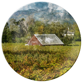 Red Barn in a Vineyard Plate