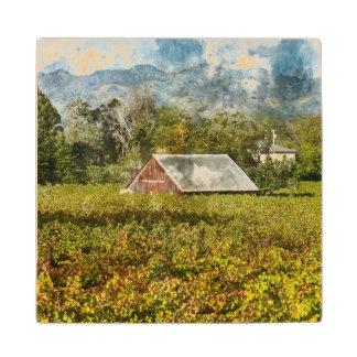 Red Barn in a Vineyard Wood Coaster