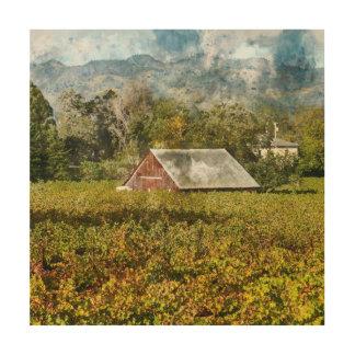 Red Barn in a Vineyard Wood Print