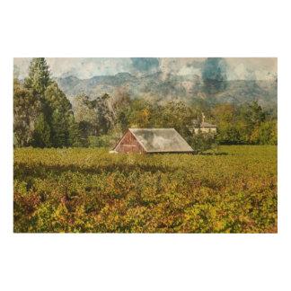 Red Barn in a Vineyard Wood Wall Art
