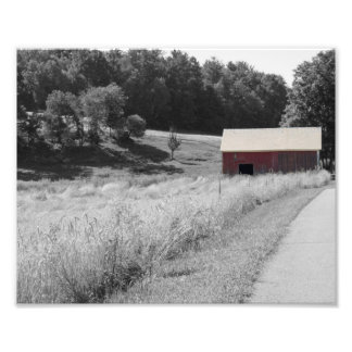 Red Barn in Country Photo