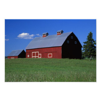 Red barn in Latah County, Idaho state PR MR) Poster